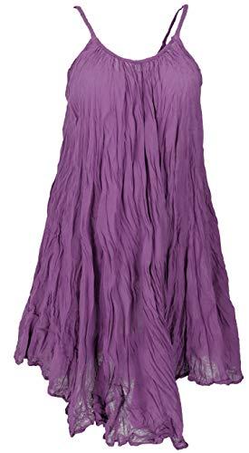 GURU SHOP Krinkelkleid, Minikleid, Sommerkleid, Strandkleid, Damen, Flieder, Baumwolle, Size:40, Kurze Kleider Alternative Bekleidung