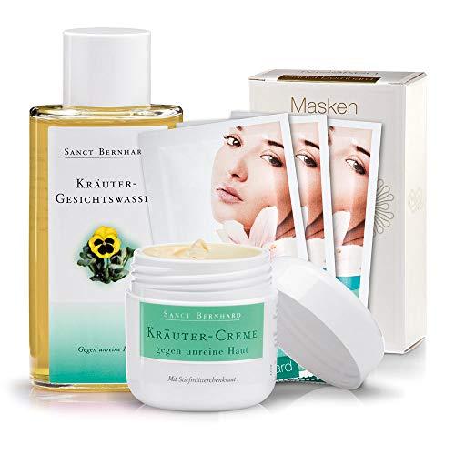 Sanct Bernhard Anti-Akne-Set (Kombipackung gegen unreine Haut, Pickel und Mitesser): Kräutercreme, Gesichtswasser, Maske