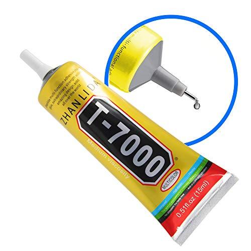 MMOBIEL T-7000 Multiuso Colla industriale Adesivo Semi fluido Nero di alte prestazioni incl. Suggerimenti di precisione per un lavoro pulito (15ML / 0,51 oz)