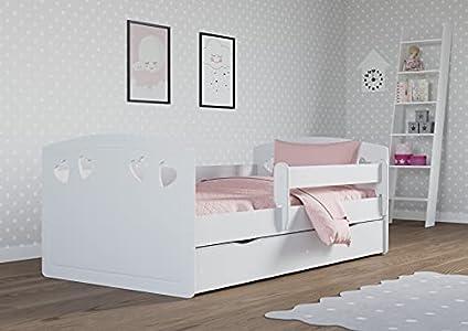 Children's Beds Home - Cama Individual Bella - Para Niños Niños Niño Niño Junior - Tamaño 160x80, Color Blanco, Cajón No, Colchón 10 cm Latex/Coco Colchón