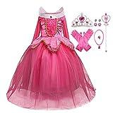 LOBTY Disfraz de Princesa Aurora para Niñas Rosa Traje de Bella Durmiente Disfraces para Holloween Fiesta Navidad Boda Gala De Ceremonia Noche Cumpleaños Aniversario Cosplay Costume para Niña Chicas
