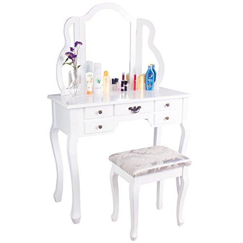 CCLIFE Schminktisch Frisiertisch Kosmetiktisch mit Spiegel Hocker Makeup Table Weiß Modern