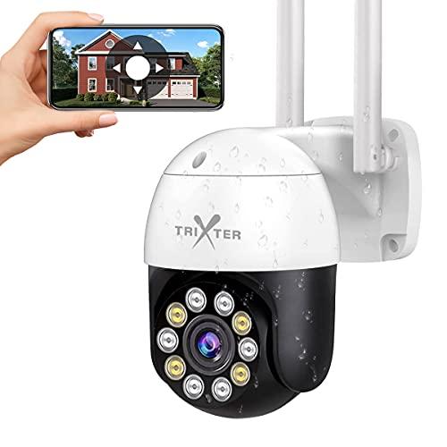 TRIXTER 2K Cámara De Seguridad Exterior 4Mpx WiFi Inalambrica FHD 1440P, PTZ Cámara de Vigilancia Impermeable IP66, Cámara Domo IR Visión Noturna De Color 10 Luces, Pan/Tilt...