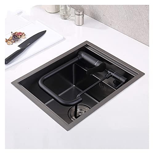 SDLSH Fregadero Nanómetro Negro 304 Fregadero de Acero Inoxidable, Fregadero de Cocina multifunción, Fregadero de Barra de Cocina a Mano, Fregadero de Cocina pequeño Accesorios De Cocina