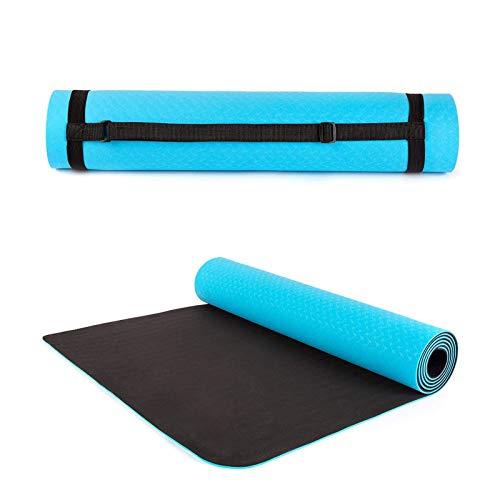 Estera de Yoga Antideslizante, ColchóN de Ejercicios 5 mm de Espesor, Amigable EcolóGico Material TPE Trabajo Fuera de Mat, 53 cm de Largo Equipo de Ejercicio de 61 cm,Azul