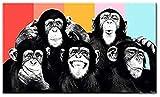 QIULING Quadro su Tela Divertente Scimmia Doodle Tela Dipinta sul Muro Poster e Stampe Mod...