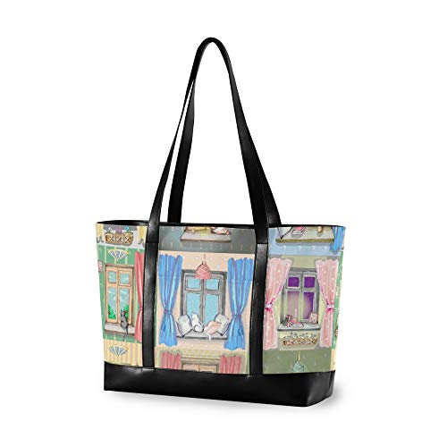 RELEESSS Tote Laptop Bags Cute Cat Window Pattern Handbag Shoulder Bag Laptop Case for Women Ladies Girls