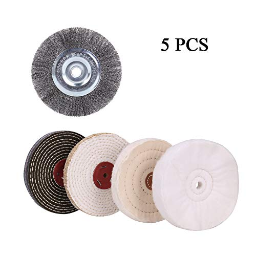 6  Buffing Polishing Wheel Soft(30 Ply) Fine(50 Ply) Medium(1 2  Thick) Coarse(5 Ply) with 1 2  Arbor Hole Crimped Steel Wire Wheel Brush with 1 2 -5 8  Arbor Hole for Bench Grinder - 5 Pcs