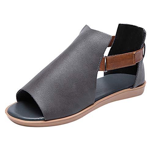 Eaylis Damen mode Sandalen Casual Retro Schuhe Vintage Solid Colors Sandalen Schuhe Peep Toe Sandalen Flache Schuhe