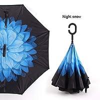 QBYWJ Cハンドル防風リバース折りたたみ傘男性女性日雨カー反転傘二重層アンチUVセルフParapluieスタンド 持ち運びが簡単、スタイリッシュでシンプル (Color : Night snow)