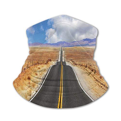 Verctor Cubierta Facial para niños Carretera de los Estados Unidos en California Estepa y Nubes Carretera asfaltada Horizon Hills Journey Mascarilla Facial Multicolor Negro