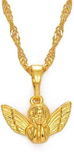 FACAIBA Collares Mini bebé ángel Colgante Collares para Las Mujeres niñas Oro Color pequeño tamaño joyería Religiosa Regalo