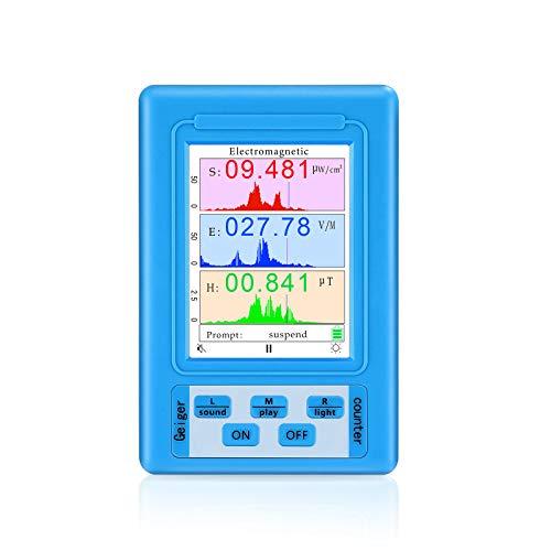 Elikliv Detector de Radiación de Campos Electromagnéticos, Digital Medidor de EMF Radiación Electromagnetica con LCD Pantalla y Contador Geiger para Interior y Exterior