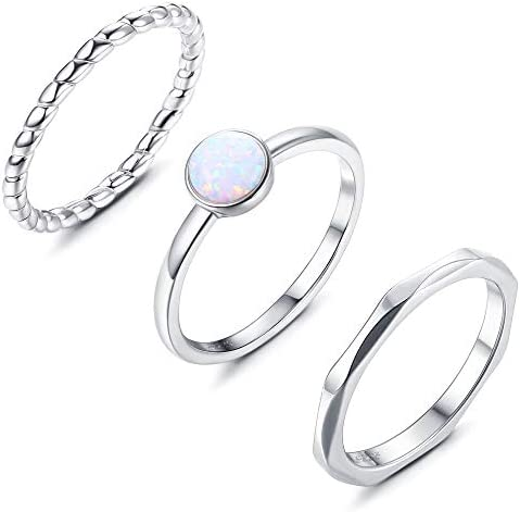 Milacolato 3 Pcs 925 Sterling Silver Opal Hammered Twisted Stackable Ring Set for Women Platinum product image