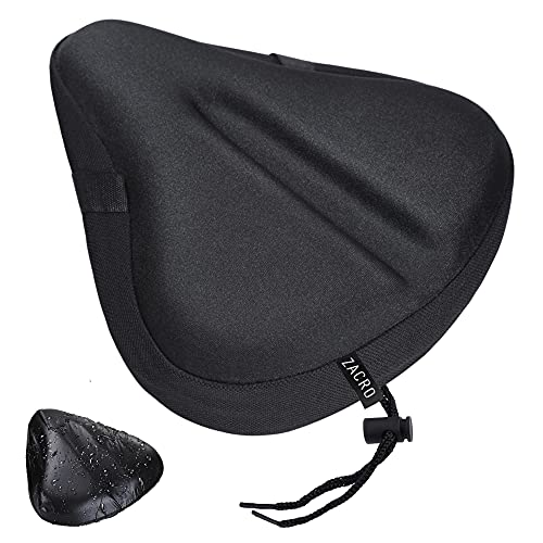 Zacro Large Gel Exercise Bike Seat - Cushion Bicycle Seat Saddle with Black Waterproof Seat Cover - Suitable for Outdoor and Indoor Bicycle