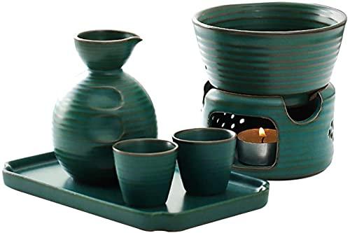 TEPET Juego de Sake con Calentador, Juego de Vino Caliente Estilo Jese Juego de Vino de Sake de cerámica, 100 ml, C.