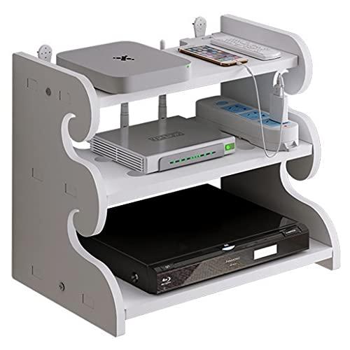 Router rack Soporte de Pared para enrutador de 3 Niveles, Estante de Pared Flotante, Caja de Almacenamiento WiFi, Caja organizadora de Cables, Protector de Tira de alimentación Hider