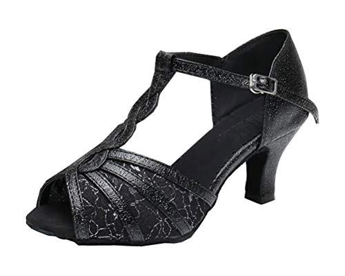 Señoras Peep Toe T-bar Kitten Heel Soft Suede Latin Dance-Shoe Salón Moderno Jazz Disco Zapatos, color Negro, talla 35.5 EU