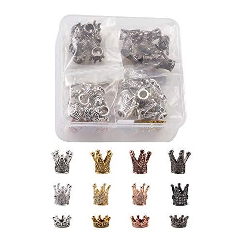 Beadthoven, 88 ciondoli a forma di corona di re e corona in 3 stili con micro pavé di zirconia cubica trasparente, connettore per braccialetti e gioielli, foro: 1-6 mm