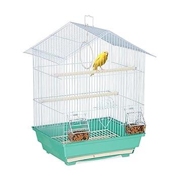 Relaxdays Cage à Oiseaux, métal, pour de Petits canaris, perchoirs & mangeoires, 49 x 39,5 x 32 cm, Bleu Clair/Menthe