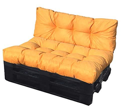 ValoreItalia Cuscino per Bancale Divano Pallet 80X120 Seduta e Schienale in Microfibra per Bancali (Giallo)