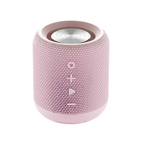Altavoz solidario Life de Vieta Pro, con Bluetooth, True Wireless, Micrófono, Radio FM, 12 horas de autonomía, Reproductor USB, Resistencia al agua IPX6 y entrada auxiliar; acabado en color rosa palo.