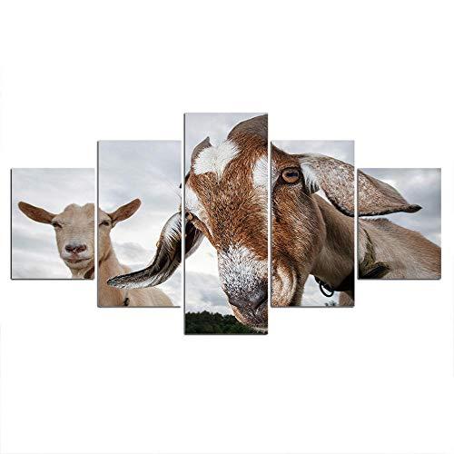 ELSFK Cuadro En Lienzo Carteles de ovejas Animales Impresión De 5 Piezas Material Tejido No Tejido Impresión Artística Imagen Gráfica Decor Pared 200x100cm