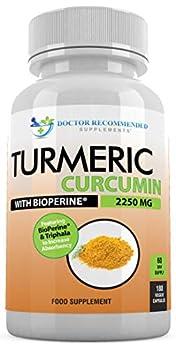 Turmeric Curcumin - 2250mg/d - Veggie Capsules - 95% Curcuminoids with Black Pepper Extract  Bioperine  - 100% Organic - Most Powerful Turmeric Supplement with Triphala  180 Count