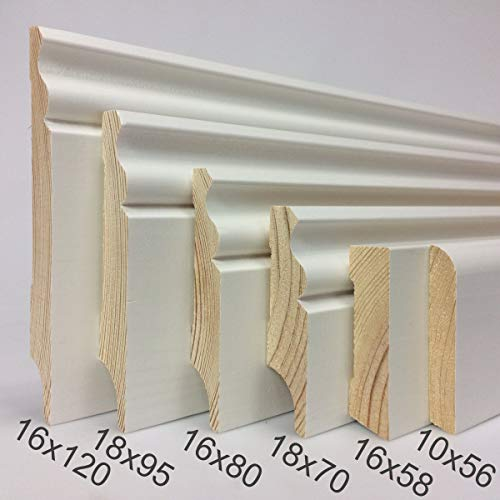 KIE-1058-S4-2400-T - Rodapié madera blanco zocalo 10x58mm - sin canal para cables - 4x listones de 2400 mm - TOTAL 9,6 metros