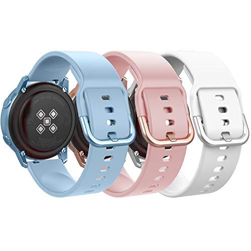 MoKo Correa Compatible con Galaxy Watch 3 41mm/Galaxy Watch Active/Active 2/Galaxy Watch 42mm/Gear Sport/Gear S2 Classic,[3PZS] 20mm Pulsera de Silicona - Azul Claro y Rosa y Blanco
