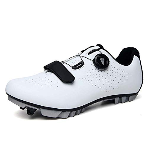 Dytxe Cycling Men Spin Shoes Road Bike Shoes Wear-Resistant and Breathable Walking Shoes Mountaineering Shoes Hiking Shoes,White,44