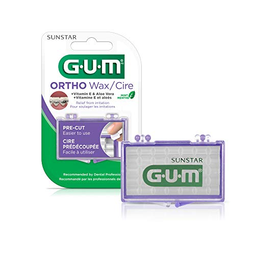 GUM Orthodontic Wax, Mint with Vitamin E and Aloe Vera (Pack of 6)