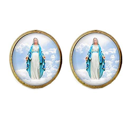 Maria-Ohrringe, religiöses Geschenk, Vintage-Stil, Glasschmuck, Maria-Schmuck, Heilige Maria