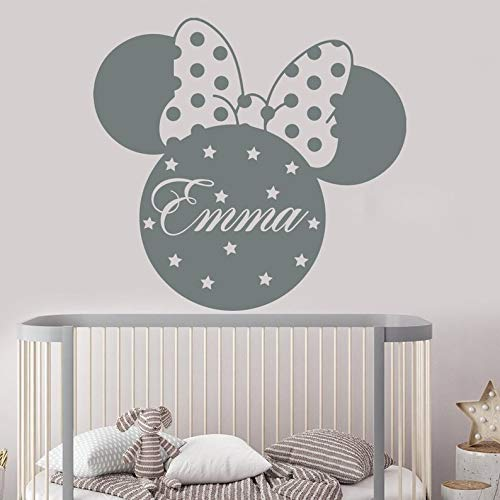 mlpnko Personalisierter Name Cartoon Maus Wandaufkleber Kinderzimmer personalisierte Dekoration Name Kindergarten Wandaufkleber,CJX11065-45x42cm