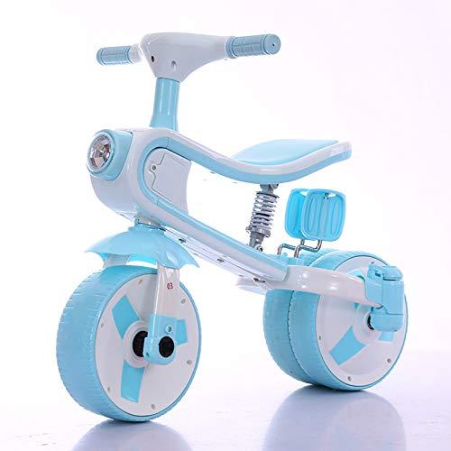 QBLDX Kids Toddler 3 Wheels Pedal Bike - Kids Toddler 3 Wheels Pedal Bike,Foldable Pedals, Shock and Noise Reduction, 135° Limit Angle,Blue
