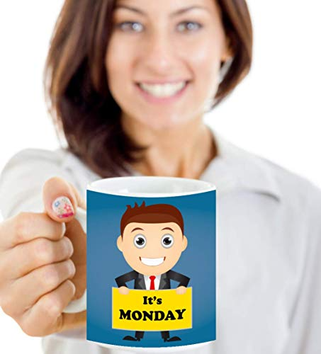 11oz Ceramic Cup ITS MONDAY COFFEE MUG OFFICE DESK BUSINESS MAN DRY HUMOR SUIT TIE DAY WEEK FUNNY Best Present for Your Lover Friends Mates
