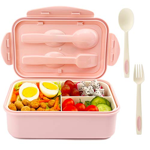 Bento Box With Spoon Fork for Kids Girls Boys Durable Leak-Proof for On-the-Go Meal BPA-Free and Food-Safe MaterialsPink