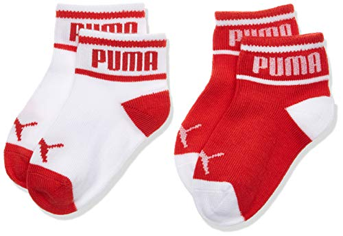 PUMA Wording Sock 2p Calcetines, Rojo (White/Ribbon Red 435), Talla única (Talla del fabricante: 15/18) (Pack de 2) para Bebés