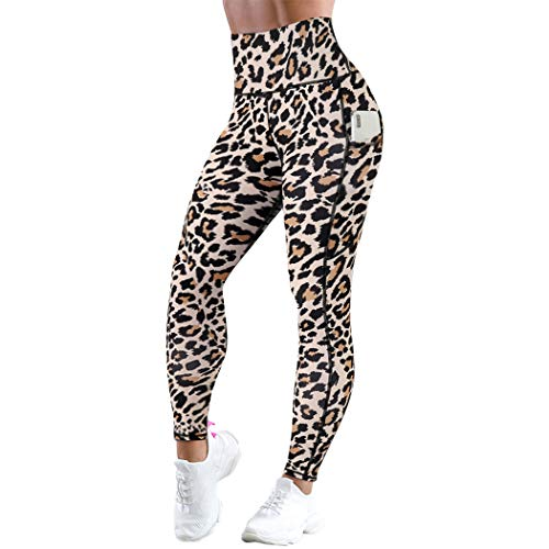 RXRXCOCO Womens High Waisted Yoga Pants Workout Tummy Control Leggings with Pockets for Women Small Leopard