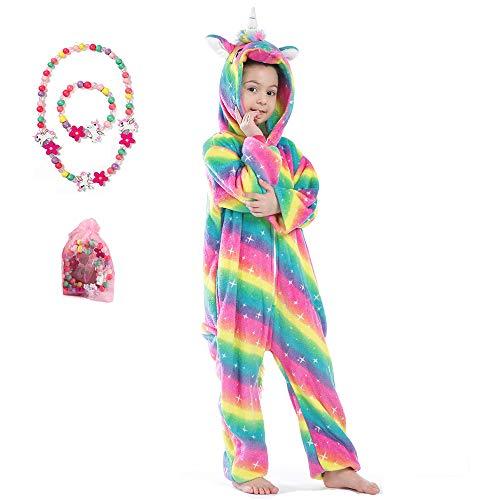LINKE Kinder-Einteiler für Mädchen, weiches Plüsch-Einhorn, Schlafanzug, bequem, Geschenk, mit buntem Armband und Halskette, Funkelnder Regenbogen, 7-8 Jahre