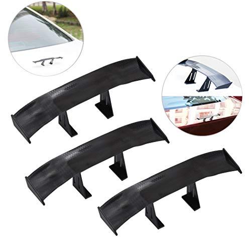 Creatiee 3Pcs Universal Car Mini Spoiler Wing, Auto Car Tail Wing Mini Auto Carbon Fiber Texture Decoration Without Perforation Tail Decoration, 6.7 Inch(Black)