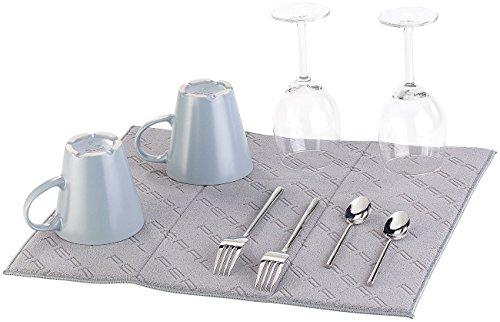 PEARL Spülmatte: Weiche Mikrofaser-Abtropfmatte, saugfähig, faltbar, grau, 40 x 50 cm (Abtropftuch)