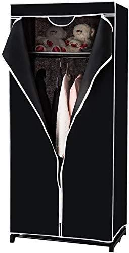 RELAX4LIFE Kleiderschrank mit Metallgestell, Stoffschrank mit großem Stauraum, Faltschrank mit Überwurf, Textilschrank mit rutschfesten Füßen, Faltkleiderschrank Stoffkleiderschrank (Schwarz)