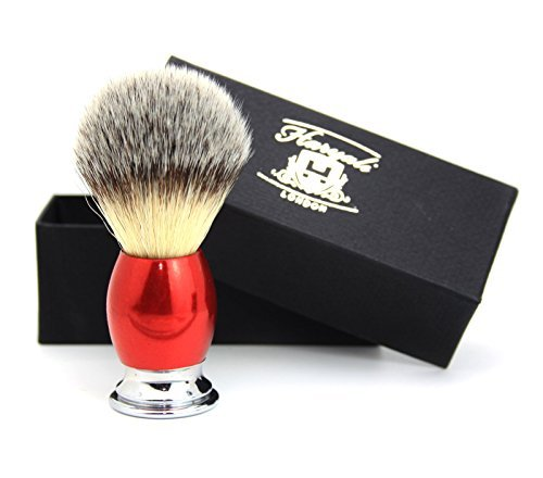 Branded Max 43% OFF goods Synthetic Hair Shaving Brush Red Classical Handle Silver with