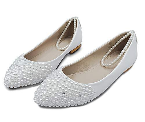 Vrouwen schoenen handgemaakte dame parel witte trouwschoenen platte mode sexy comfortabele bruidsjurk schoenen