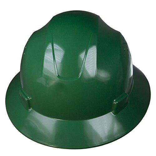 JORESTECH Safety Hard Hat Green HDPE Full Brim Helmet with 4-Point Adjustable Ratchet Suspension For...