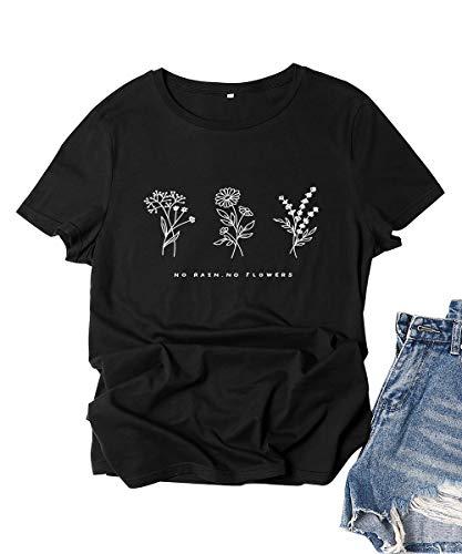 Damen Kein Regen Keine Blume Frauen T Shirt Pflanze Grafik T-Shirt Mädchen Niedlichen Rundhalsausschnitt Kurzarm Letter Print Hipster Weiblich Lässig Lustige Tops