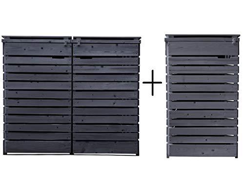 Fairpreis-design Mülltonnenbox Mülltonnenverkleidung 3 Tonnen Holz 120L - 240L anthrazit inkl. Rückwand vorimprägniert vormontiert Müllcontainer Mülltonne Mod.H