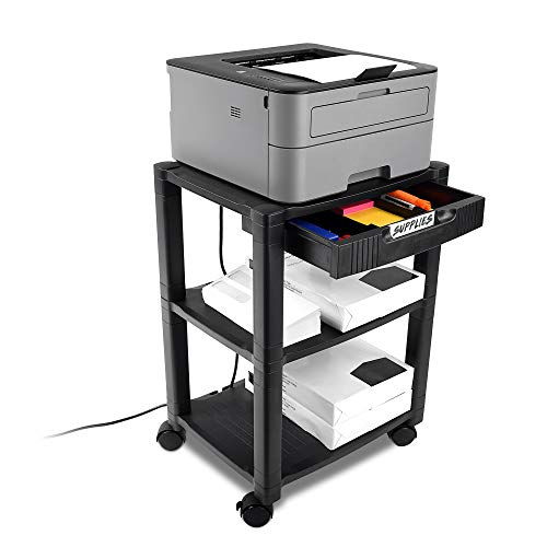 Circuit City PS3T 3 Shelf Wheeled Rolling Printer Cart Machine Stand with Built-in Storage and Cable Management - Holds Up to 75 Pounds (Black)