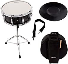 Mendini Student Snare Drum Set with Gig Bag, Sticks, Stand and Practice Pad Kit, Black, MSN-1455P-BK